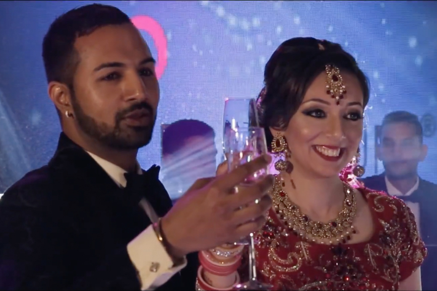 Sunny & Reena Raising a toast on their Wedding Day